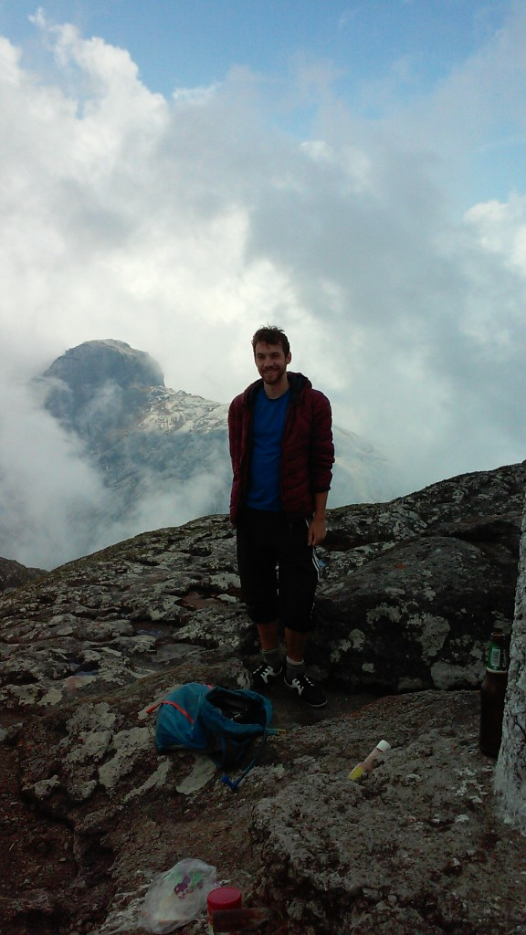 At the summit of Sapitwa, highest point in the Mulanje range